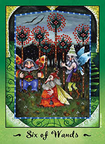 Six of Rods Tarot Card - Faerie Tarot Deck