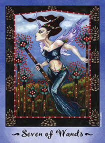 Seven of Rods Tarot Card - Faerie Tarot Deck