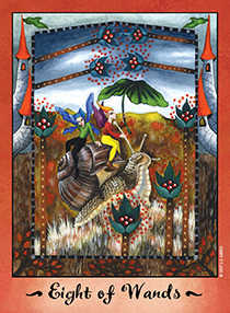 Eight of Rods Tarot Card - Faerie Tarot Deck