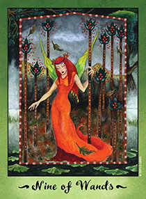 Nine of Batons Tarot Card - Faerie Tarot Deck