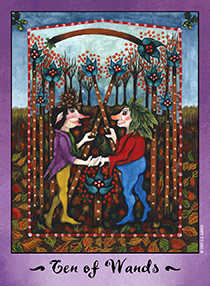 Ten of Staves Tarot Card - Faerie Tarot Deck