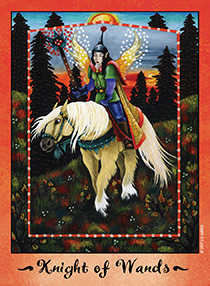 Knight of Wands Tarot Card - Faerie Tarot Deck