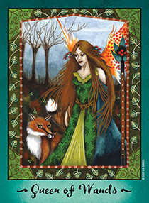 Queen of Rods Tarot Card - Faerie Tarot Deck