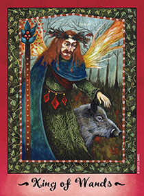 King of Staves Tarot Card - Faerie Tarot Deck