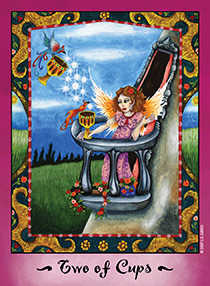 Two of Hearts Tarot Card - Faerie Tarot Deck