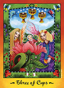Three of Hearts Tarot Card - Faerie Tarot Deck