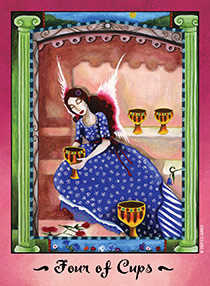 Four of Hearts Tarot Card - Faerie Tarot Deck