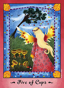 Five of Cups Tarot Card - Faerie Tarot Deck