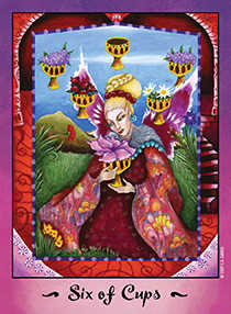 Six of Hearts Tarot Card - Faerie Tarot Deck