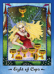Eight of Bowls Tarot Card - Faerie Tarot Deck