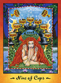 Nine of Bowls Tarot Card - Faerie Tarot Deck