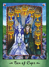 Ten of Hearts Tarot Card - Faerie Tarot Deck