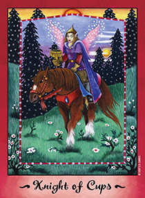 Cavalier of Cups Tarot Card - Faerie Tarot Deck