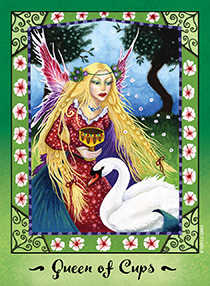 Queen of Bowls Tarot Card - Faerie Tarot Deck