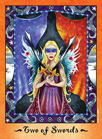 Two of Arrows Tarot Card - Faerie Tarot Deck