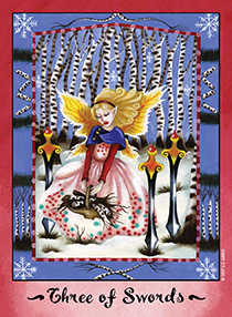 Three of Swords Tarot Card - Faerie Tarot Deck