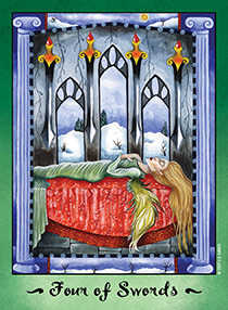 Four of Swords Tarot Card - Faerie Tarot Deck
