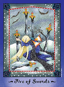 Five of Wind Tarot Card - Faerie Tarot Deck