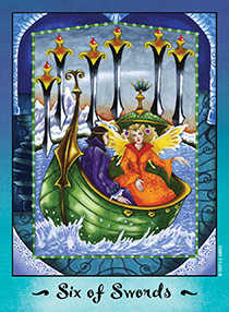 Six of Swords Tarot Card - Faerie Tarot Deck