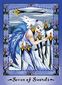 Seven of Swords Tarot Card - Faerie Tarot Deck