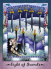 Eight of Swords Tarot Card - Faerie Tarot Deck