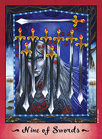 Nine of Arrows Tarot Card - Faerie Tarot Deck