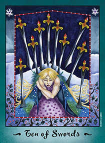 Ten of Swords Tarot Card - Faerie Tarot Deck