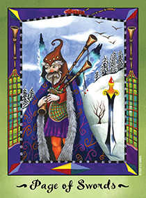 Valet of Swords Tarot Card - Faerie Tarot Deck