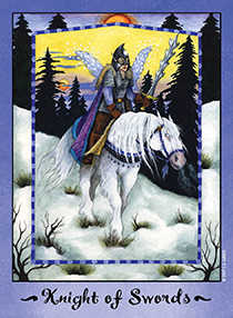 Knight of Spades Tarot Card - Faerie Tarot Deck