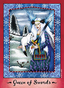 Queen of Arrows Tarot Card - Faerie Tarot Deck