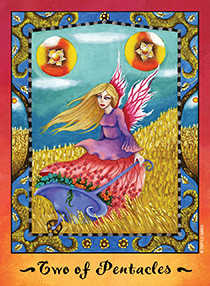 Two of Coins Tarot Card - Faerie Tarot Deck