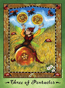 Three of Coins Tarot Card - Faerie Tarot Deck