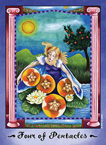 Four of Pumpkins Tarot Card - Faerie Tarot Deck
