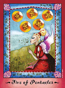 Five of Pentacles Tarot Card - Faerie Tarot Deck