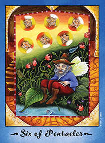 Six of Pentacles Tarot Card - Faerie Tarot Deck