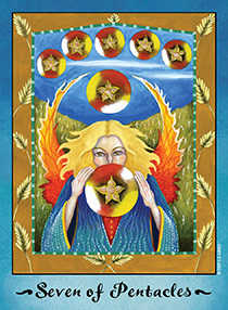 Seven of Pentacles Tarot Card - Faerie Tarot Deck