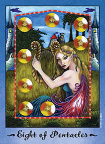 Eight of Coins Tarot Card - Faerie Tarot Deck