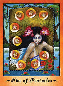 Nine of Coins Tarot Card - Faerie Tarot Deck