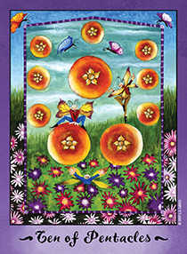 Ten of Coins Tarot Card - Faerie Tarot Deck