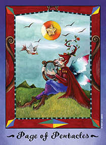 Daughter of Coins Tarot Card - Faerie Tarot Deck