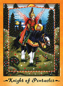 Knight of Coins Tarot Card - Faerie Tarot Deck