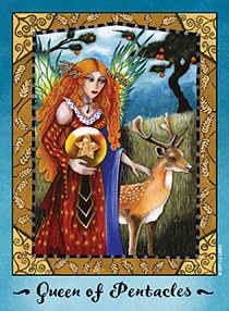 Queen of Coins Tarot Card - Faerie Tarot Deck