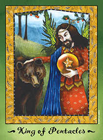 King of Coins Tarot Card - Faerie Tarot Deck