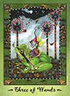 Three of Wands Tarot card in Faerie Tarot deck