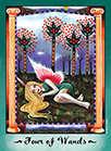 Four of Wands Tarot card in Faerie Tarot Tarot deck