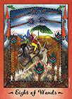 Eight of Wands Tarot card in Faerie Tarot deck
