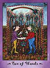 Ten of Wands Tarot card in Faerie Tarot deck