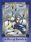 Five of Swords Tarot card in Faerie Tarot deck