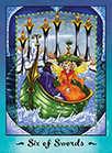 Six of Swords Tarot card in Faerie Tarot deck