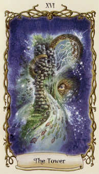 The Falling Tower Tarot Card - Fantastical Creatures Tarot Deck